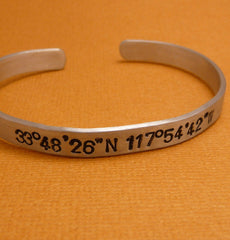 Latitude & Longitude Custom Hand Stamped 1/4 inch Cuff Bracelet  in Aluminum or Sterling Silver