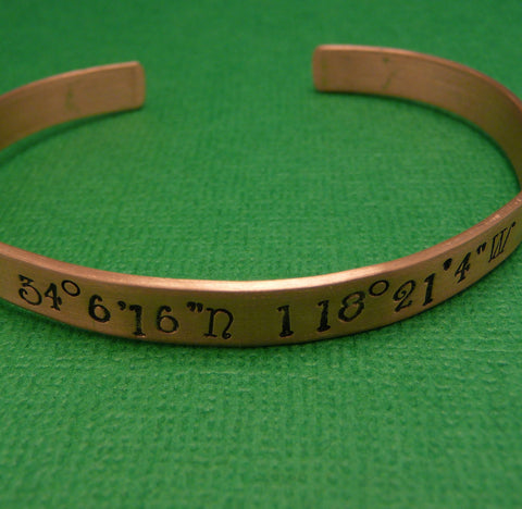 Latitude & Longitude Custom Hand Stamped Copper Bracelet