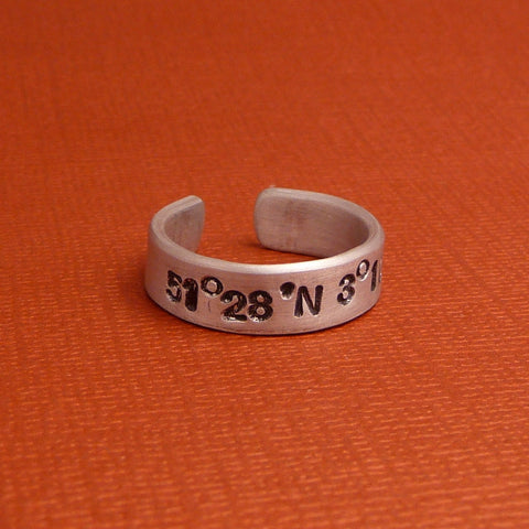 "Latitude & Longitude Custom Hand Stamped 1/4"" Aluminum Ring"