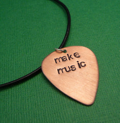 Custom Hand Stamped Copper Guitar Pick Necklace