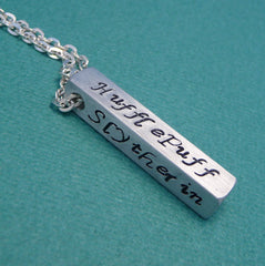CLEARANCE - Harry Potter Inspired - Hogwarts Houses - A Hand Stamped Aluminum Bar Necklace