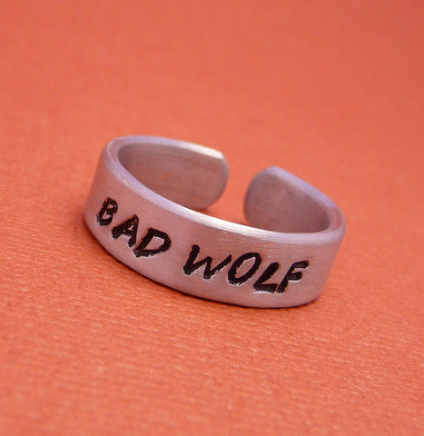 Doctor Who Inspired - Bad Wolf - A Hand Stamped Aluminum Ring