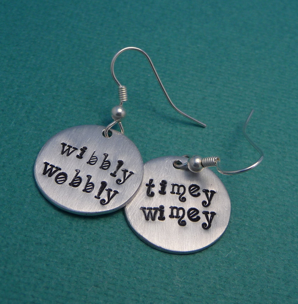 Doctor Who Inspired - WIbbly Wobbly & Timey Wimey - A Pair of Hand Stamped Earrings