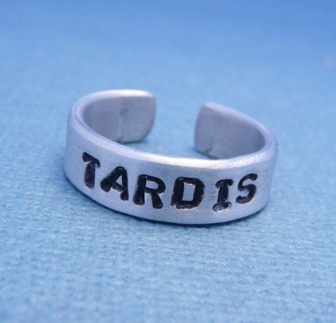 Doctor Who Inspired - TARDIS - A Hand Stamped Aluminum Ring