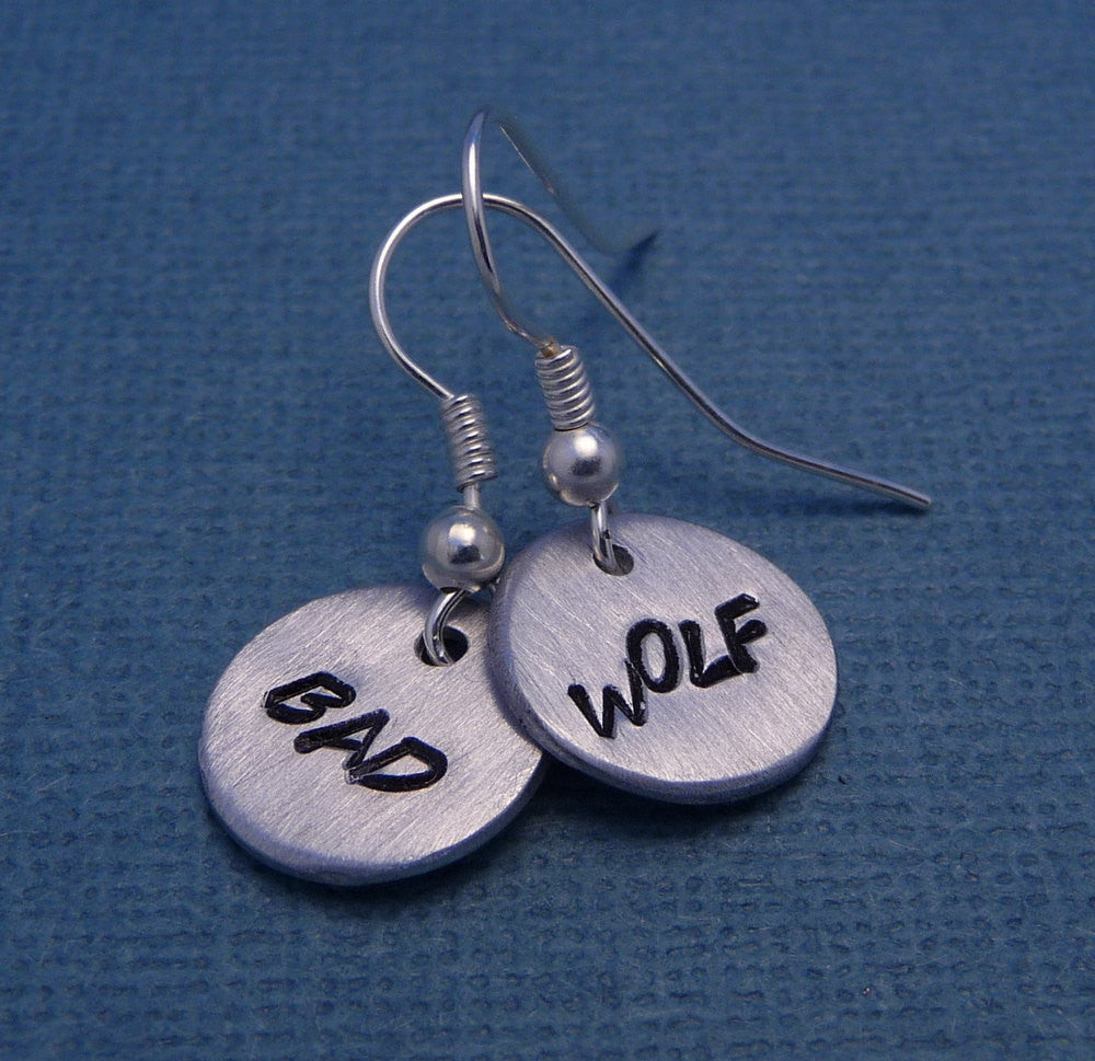 Doctor Who Inspired - Bad Wolf - A Pair of Hand Stamped Earrings