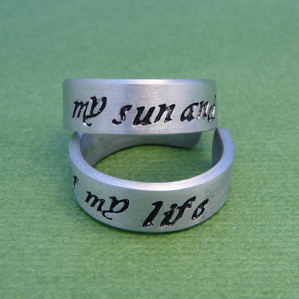 Game of Thrones Inspired - My Sun and Stars & Moon of My Life - A Pair of Hand Stamped Aluminum Rings
