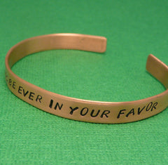 Hunger Games Inspired - May The Odds Be Ever In Your Favor - A Hand Stamped Copper Bracelet
