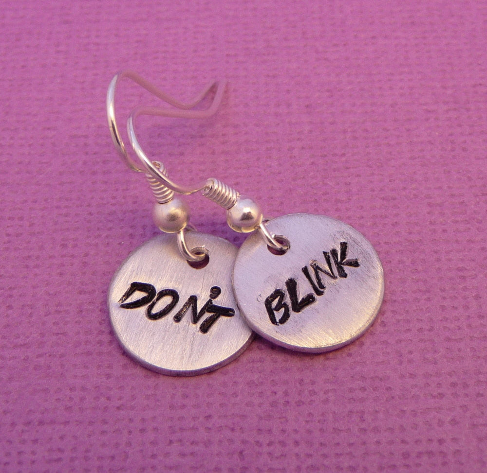 Doctor Who Inspired - Don't Blink - A Pair of Hand Stamped Aluminum Earrings