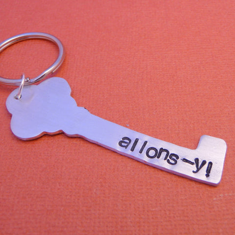 Doctor Who Inspired - Allons-y - Hand Stamped Aluminum Keychain