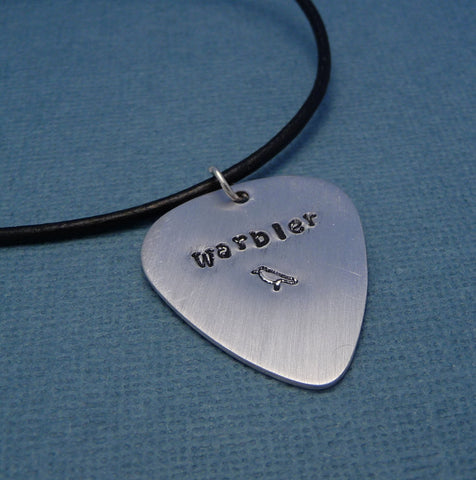 Glee Inspired - Warbler - A Hand Stamped Aluminum Guitar Pick Necklace