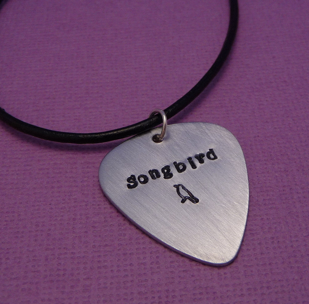 Glee Inspired - Songbird - A Hand Stamped Aluminum Guitar Pick Necklace