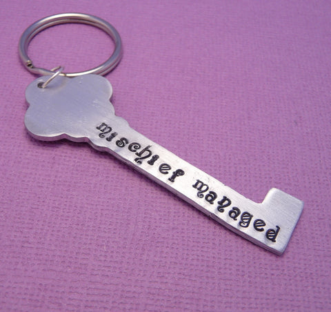 Custom DOUBLE SIDED Hand Stamped Key Shaped Keychain