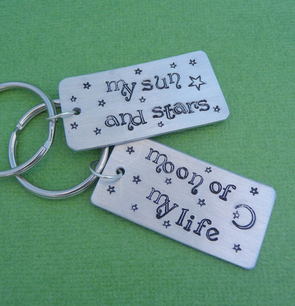 Game of Thrones Inspired - My Sun and Stars and Moon Of My Life -  Pair Hand Stamped Aluminum Keychains