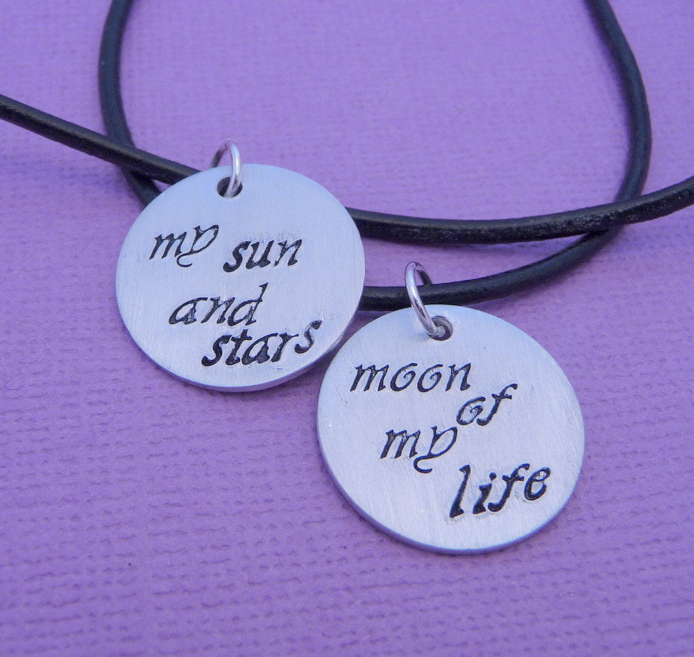 Game of Thrones Inspired - My Sun and Stars and Moon of My Life - A Pair of Hand Stamped Aluminum Disc Necklaces