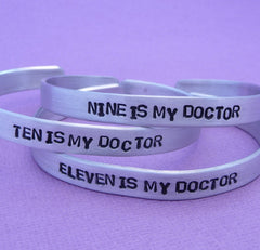 Doctor Who Inspired - My Doctor - A Hand Stamped Bracelet in Aluminum or Sterling Silver