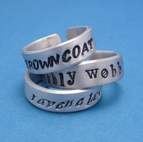 CUSTOM Hand Stamped Aluminum Ring - Stamped on TWO SIDES