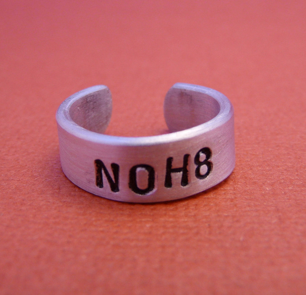 Charity Series - NOH8 - A Hand Stamped Aluminum Ring