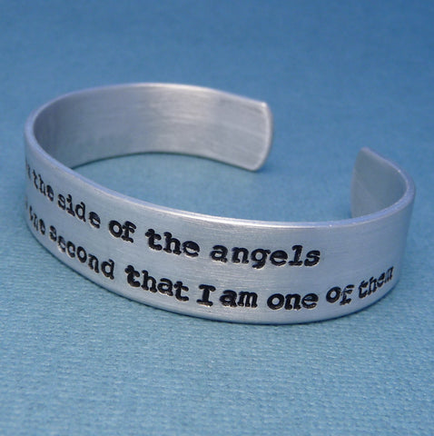 Sherlock Inspired - I May Be On The Side Of The Angels... - A Hand Stamped Aluminum Bracelet