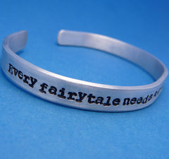 Sherlock Inspired - Every Fairytale Needs A Good Old Fashioned Villain - A  Hand Stamped Bracelet in Aluminum or Sterling Silver