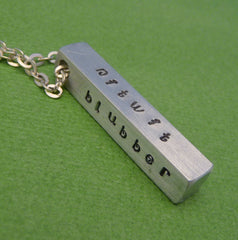 CUSTOM Hand Stamped Aluminum Bar Necklace