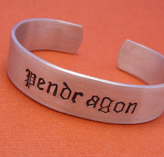 Merlin Inspired - Pendragon - A Hand Stamped Aluminum Bracelet