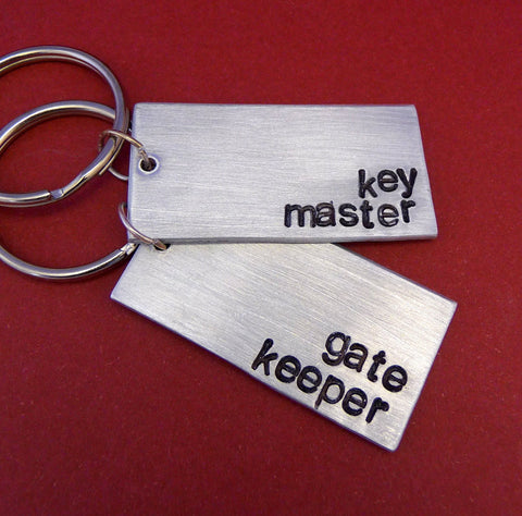 Ghostbusters Inspired - Key Master and Gate Keeper -  A Pair of Hand Stamped Aluminum Keychains