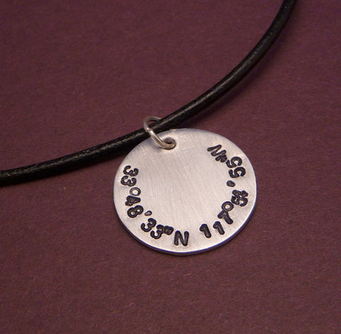 Latitude and Longitude Custom Hand Stamped Aluminum Disc Necklace