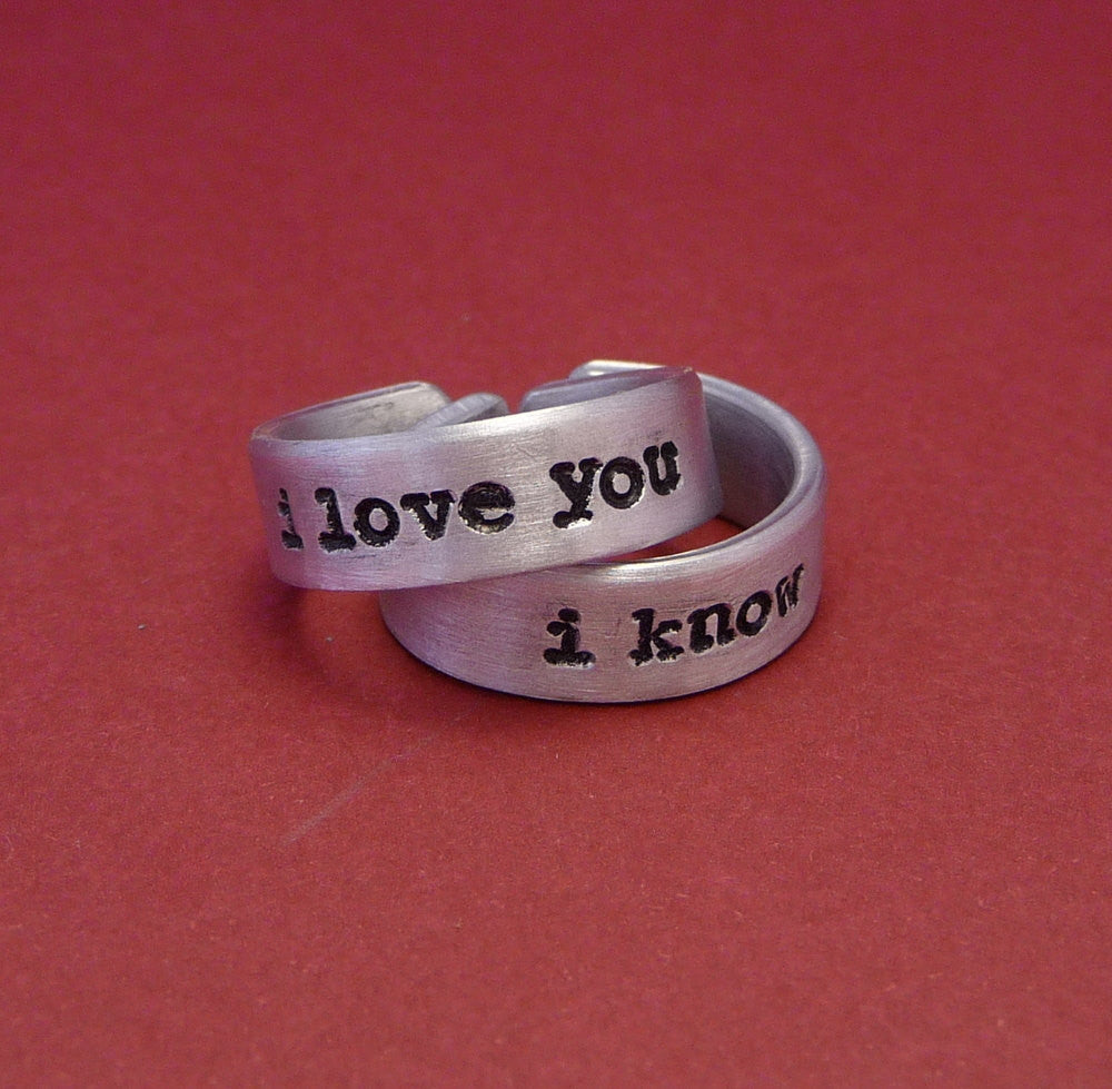 Star Wars Inspired - I Love You and I Know - A Pair of Hand Stamped Aluminum Rings