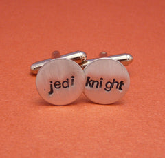 Star Wars Inspired - Jedi Knight - A Pair of Hand Stamped Aluminum Cufflinks