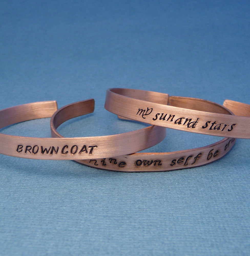 A Custom Hand Stamped Copper Cuff Bracelet