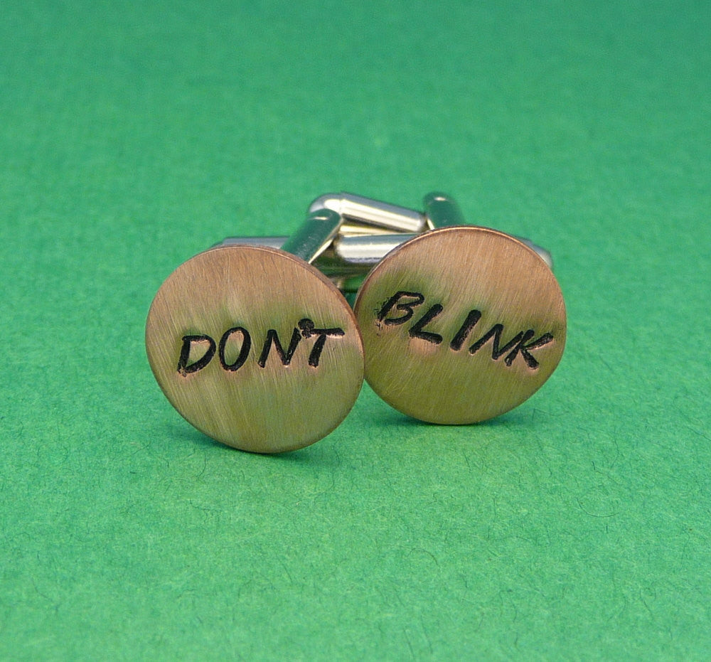 Doctor Who Inspired - Don't Blink - A Pair of Hand Stamped Copper Cufflinks