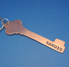 Doctor Who Inspired - TARDIS - A Hand Stamped Copper or Brass Keychain