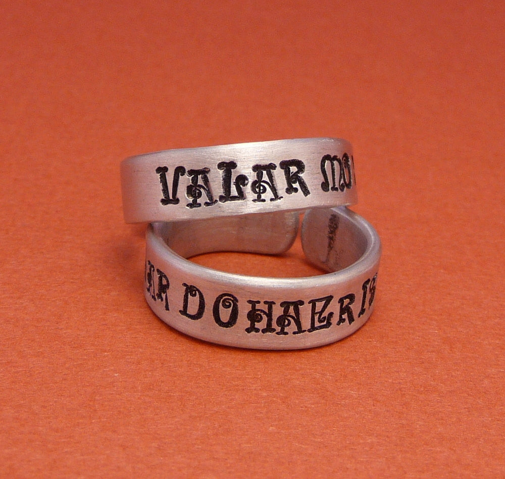 Game of Thrones Inspired - Valar Morghulis and Valar Dohaeris - A Pair of Hand Stamped Aluminum Rings