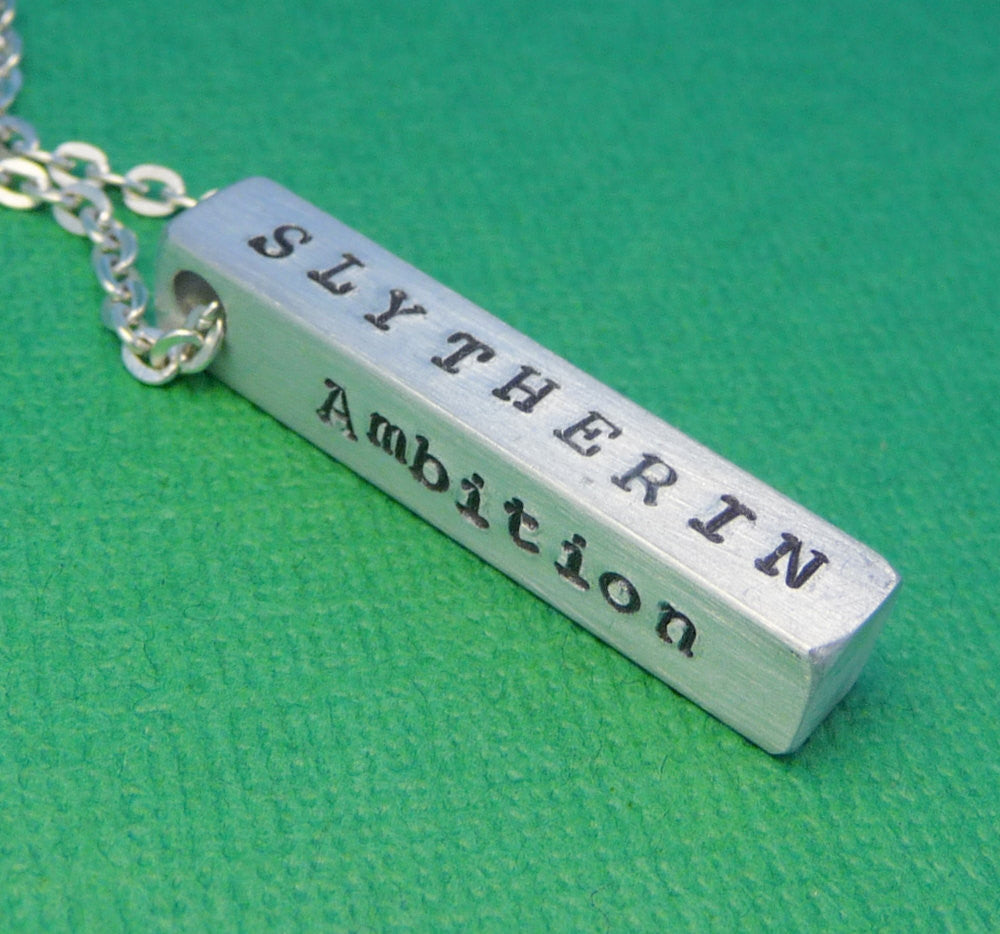 Harry Potter Inspired - Slytherin Attributes - A Hand Stamped Aluminum Bar Necklace