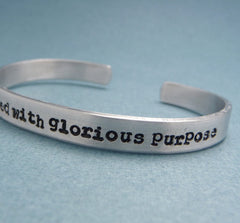 The Avengers Inspired - I Am Burdened With Glorious Purpose - A Hand Stamped Bracelet in Aluminum or Sterling Silver