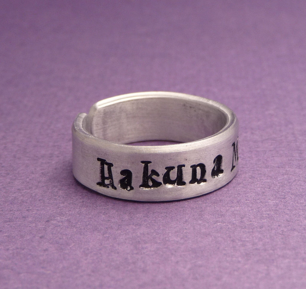 Lion King Inspired - Hakuna Matata - Hand Stamped Aluminum Ring