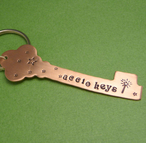 Harry Potter Inspired - Accio Keys - A Hand Stamped Copper or Brass Keychain