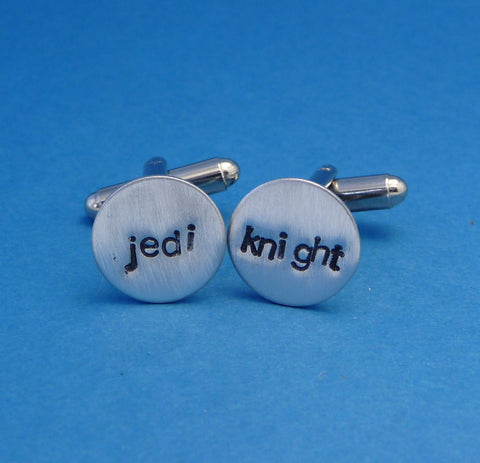 A Pair of Hand Stamped Aluminum Cufflinks