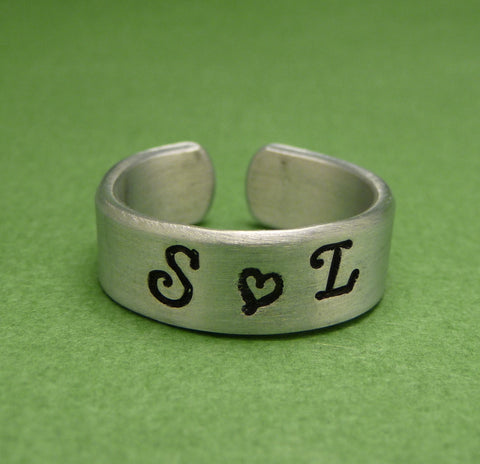Love's Initials - A Custom Hand Stamped 1/4 inch Aluminum Ring