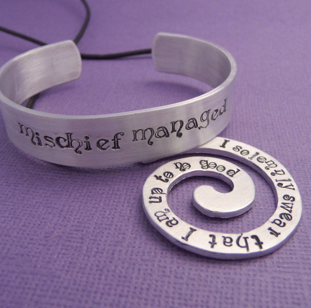 Harry Potter Inspired - I Solemnly Swear and Mischief Managed - A Marauder's Spiral Necklace and Bracelet Gift Set