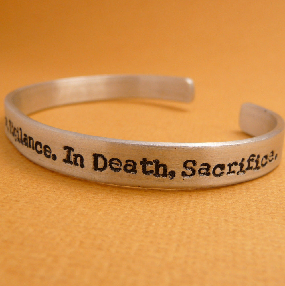 "Dragon Age Inspired - In War, Victory. In Peace, Vigilance. In Death, Sacrifice. - A 1/4"" Hand Stamped Bracelet in Aluminum or Sterling Silver"