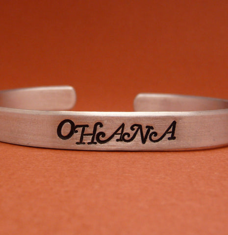 Lilo and Stitch Inspired - Ohana - A Hand Stamped Bracelet in Aluminum or Sterling Silver