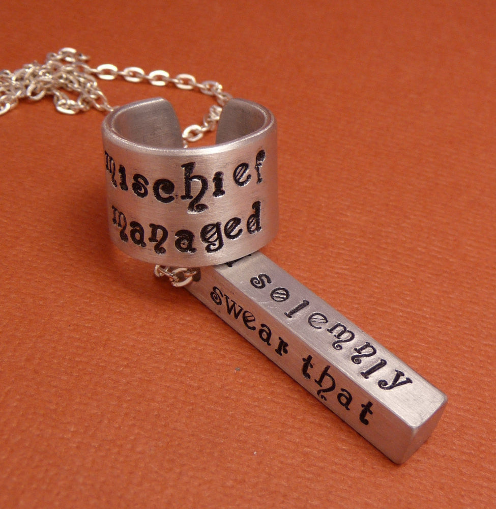 Harry Potter Inspired - I Solemnly Swear and Mischief Managed - A Marauder's Aluminum Bar Necklace and Ring Gift Set