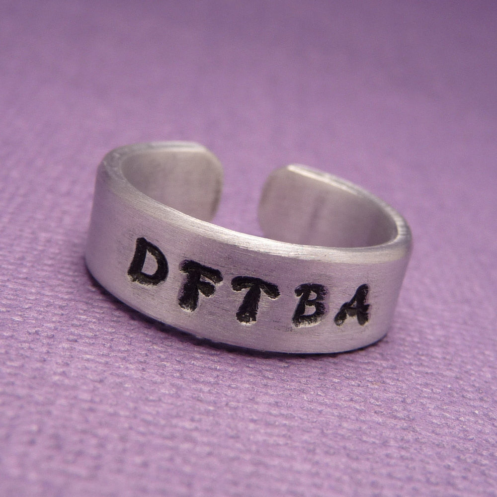 Nerdfighter - DFTBA - A Hand Stamped Aluminum Ring