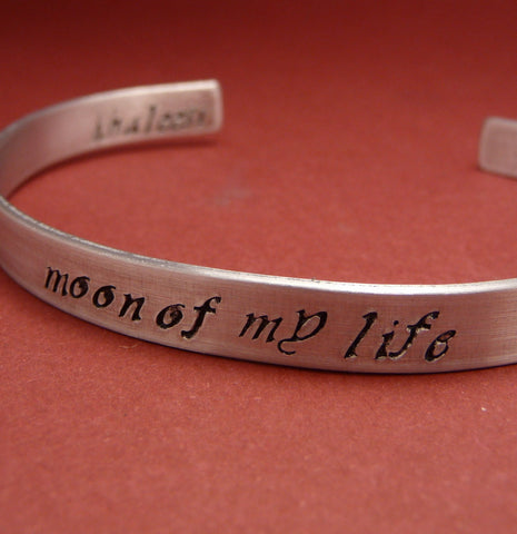 Game of Thrones Inspired - Moon of My Life. Khaleesi - A Hand Stamped Bracelet in Aluminum or Sterling Silver