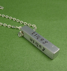 Doctor Who Inspired - Wibbly Wobbly...Timey Wimey... - A Hand Stamped Aluminum Bar Necklace