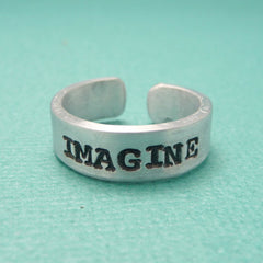 John Lennon Inspired - Imagine -  A Hand Stamped Aluminum Ring