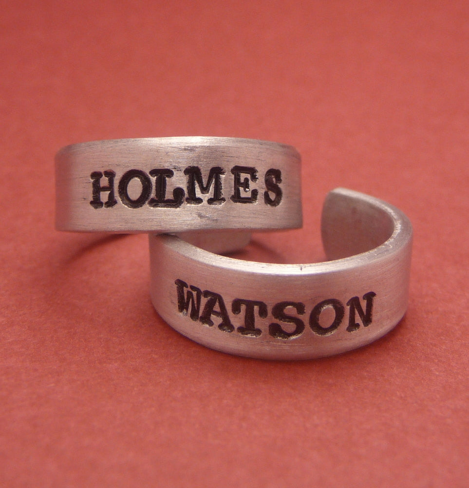 Sherlock Holmes Inspired - Holmes and Watson - A Pair of Hand Stamped Aluminum Rings
