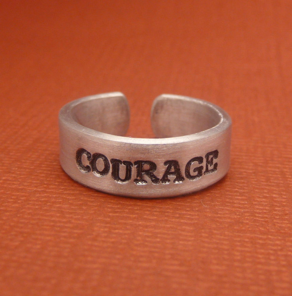 Glee Inspired - Courage - A Hand Stamped Aluminum Ring