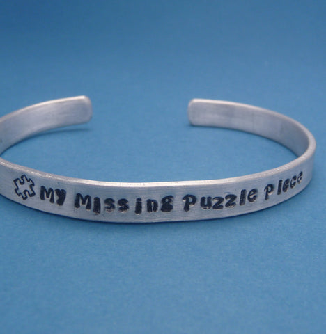Glee Inspired - My Missing Puzzle Piece - A Hand Stamped Bracelet in Aluminum or Sterling Silver